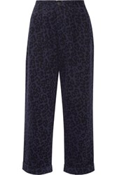 Sibling Leopard Print Brushed Cotton Twill Wide Leg Pants Indigo