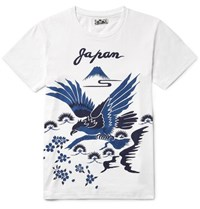 Blue Blue Japan Slim Fit Printed Cotton Jersey T Shirt White