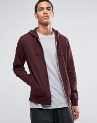 Asos Zip Up Hoodie In Burgundy Oxblood Red