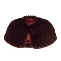 Chesca Faux Fur Luxury Shrug Cranberry
