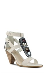 Nine West Women's Reese Sandal Off White Black Leather