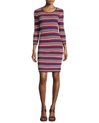 Catherine Catherine Malandrino Miriam Striped Knit 3 4 Sleeve Dress Red Multi