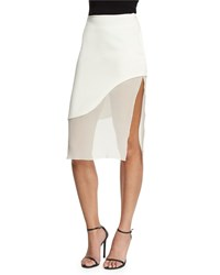 Prabal Gurung Sheer Wave Silk Pencil Skirt White