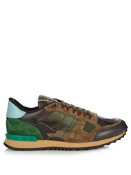 Valentino Rockrunner Leather And Suede Low Top Trainers Green Multi