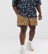 Asos White Plus Co Ord Boxy Shorts In Abstract Print Heavy Crinkle Cotton Brown