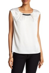 Nine West Solid Chain Neck Blouse White