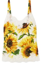 Dolce And Gabbana Lace Trimmed Floral Print Silk Blend Camisole Yellow