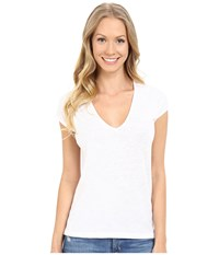 Lilla P Flame Gauze Sleeveless Double V Neck White Women's T Shirt