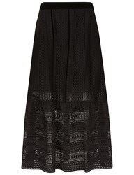 Perseverance London Black Cable Lace Peplum Skirt