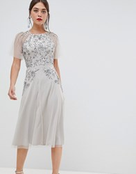 Frock And Frill Short Sleeve Midi Dress With Embellished Detail Silver