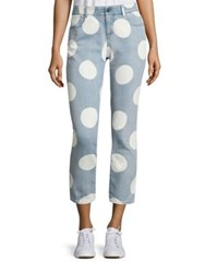 Stella Mccartney Polka Dot Ankle Grazer Denim Pants Pale Blue