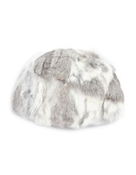 Adrienne Landau Rabbit Fur Hat Grey