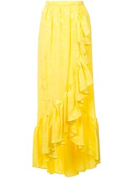 Attico Long Ruffled Skirt Yellow And Orange