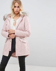 Lipsy Quilted Parker With Faux Fur Lined Hood Pink