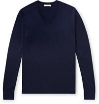 The Row Igor Silk And Cotton Blend Sweater Blue