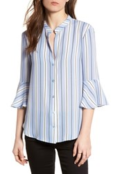 Lush Print Bell Sleeve Shirt Blue Black Stripes