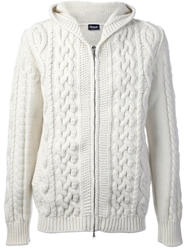 Drumohr Zipped Cable Knit Cardigan White