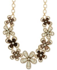 Anne Klein Gold Tone Crystal And Wood Floral Statement Necklace