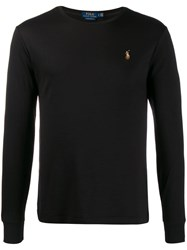 Polo Ralph Lauren Logo Embroidered Sweater Black