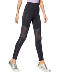 Hue Mesh Knee Active Shaping Skimmer Leggings Black