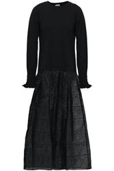 Shrimps Embroidered Cotton Jersey And Organza Midi Dress Black