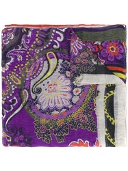 Etro Floral Print Scarf Women Silk Linen Flax One Size Pink Purple