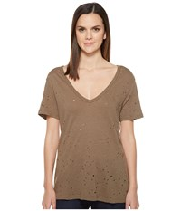 Michael Stars Ripped Textured Jersey Short Sleeve V Neck Olive Moss Women's Clothing