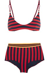 Stella Mccartney Striped Triangle Bikini Red