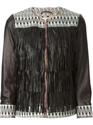 Bazar Deluxe Aztec Patterned Fringed Jacket Black