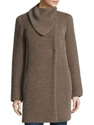 Cinzia Rocca Asymmetric Envelope Swing Car Coat Mocha