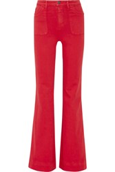 Alice Olivia Juno High Rise Wide Leg Jeans Red