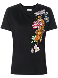 Ash Embroidered T Shirt Black