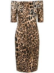 Clips Off The Shoulder Leopard Print Dress Brown