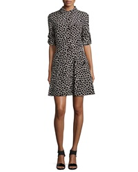 Dkny Long Sleeve Giraffe Print Shirtdress Buff