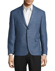 Lauren Silver Slim Fit Houndstooth Linen Blazer Blue