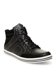 Steve Madden Ristt Leather Hi Top Sneakers Black