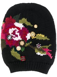 Dolce And Gabbana Floral Embroidered Beanie Virgin Wool Black