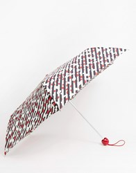 Lulu Guinness Guiness Diagonal Stripe Lip Umbrella Stripe Lip Black