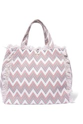 Melissa Odabash Ibiza Fringed Printed Cotton Canvas Tote White
