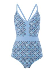 Dickins And Jones Tile Print Cross Back Swimsuit Turquoise