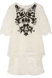 Oscar De La Renta Embroidered Lace Top