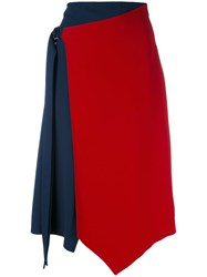 Versace Asymmetric Crepe Skirt Women Silk Viscose 38 Blue