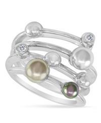Majorica Endless Pearl Ring Sterling Silver Multicolor Organic Man Made Pearl Ring