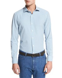 Ermenegildo Zegna Plaid Seersucker Sport Shirt Bright Blue Check Br Blu Ck