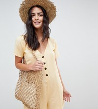 Akasa Button Beach Playsuit Natural Tan