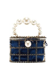 Rosantica By Michela Panero Holli Crystal Embellished Cage Clutch Navy