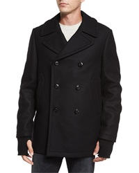 Rag And Bone Reefing Double Breasted Wool Peacoat Black