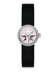 Christian Dior La D De Satin Mother Of Pearl And Stainless Steel Star Watch Black Silver