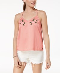 Roxy Juniors' Embroidered Tank Top Rose Tan