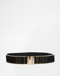 New Look Stretch Waist Belt With Gold Hardware Black